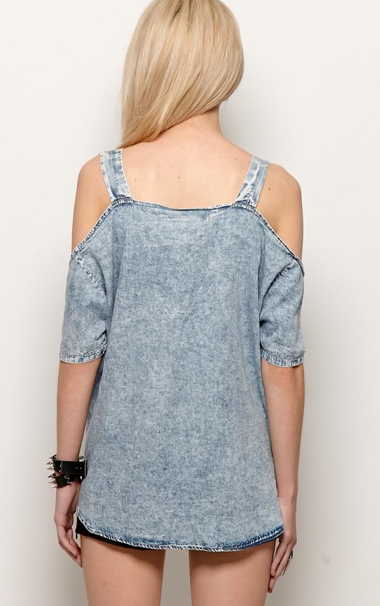 Vita Denim Cut Out Shoulder Shirt-S/M 2