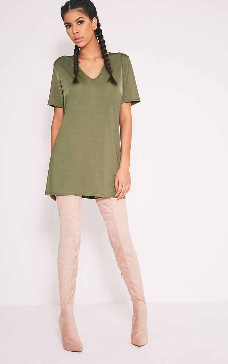 Nyla Khaki Slinky V Neck T Shirt Dress 3