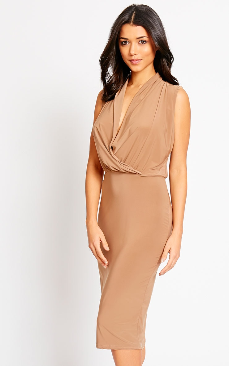 Stella Mocha Drape Midi Dress 5