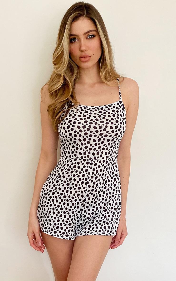 White Dalmatian Strappy Playsuit 1