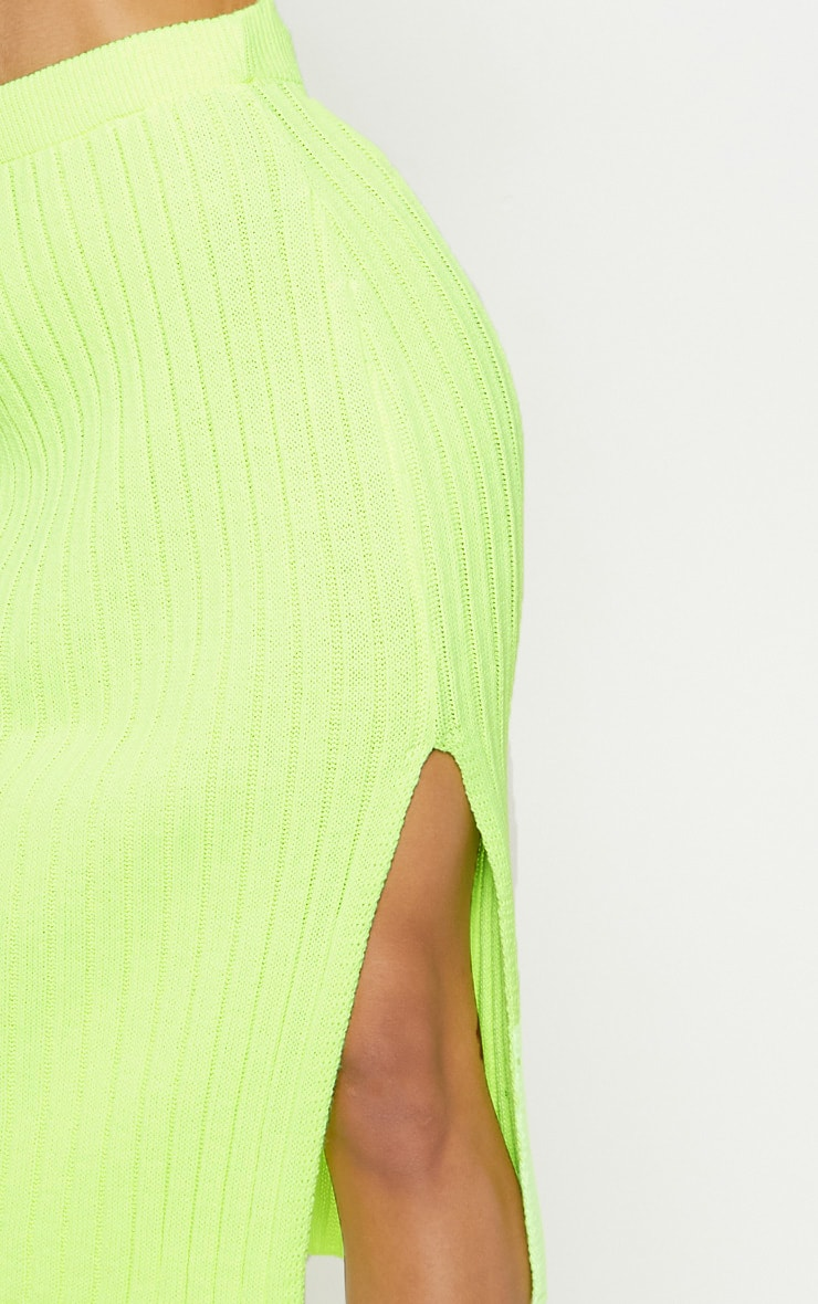 Neon Lime Knitted Ribbed Midi Skirt 5