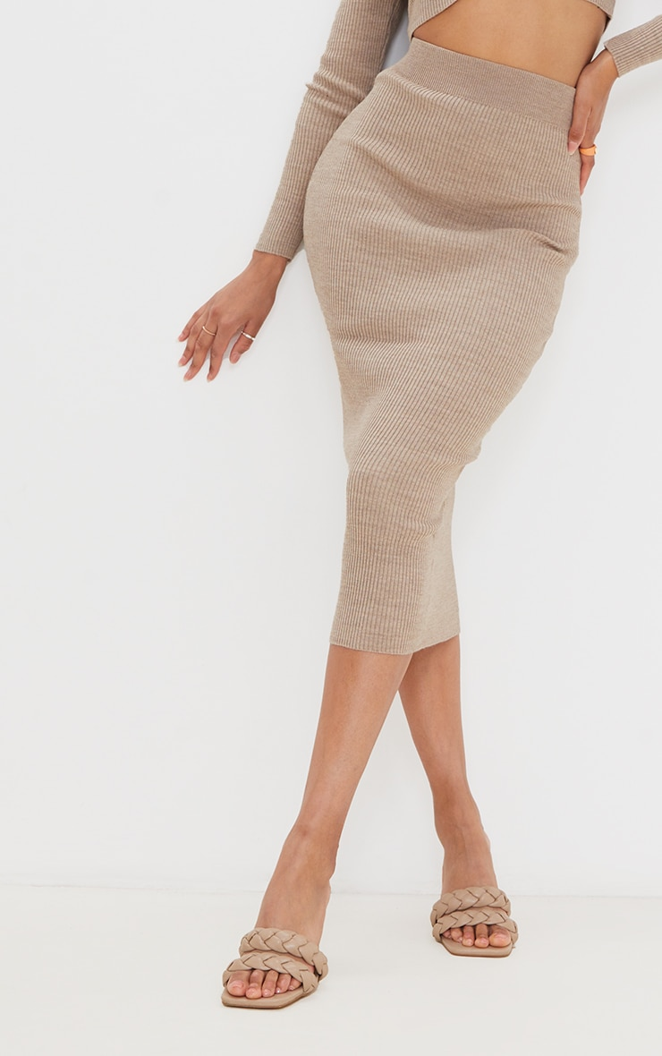 Mocha Ribbed Knitted Midaxi Skirt 4