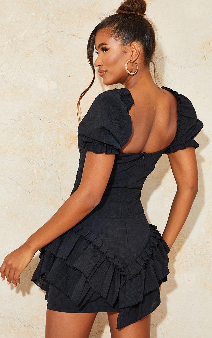Black Textured Puff Sleeve Frill Skirt Bodycon Dress 2