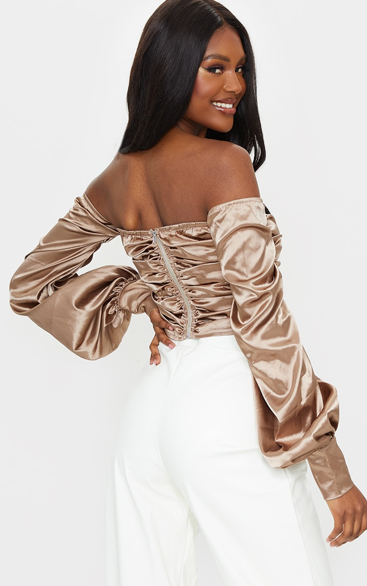 Tall Mocha Satin Ruched Long Sleeve Crop Top 2
