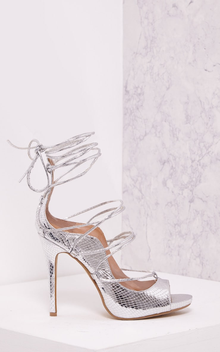 Ashleigha Silver Metallic Snake Lace Up Heels 3