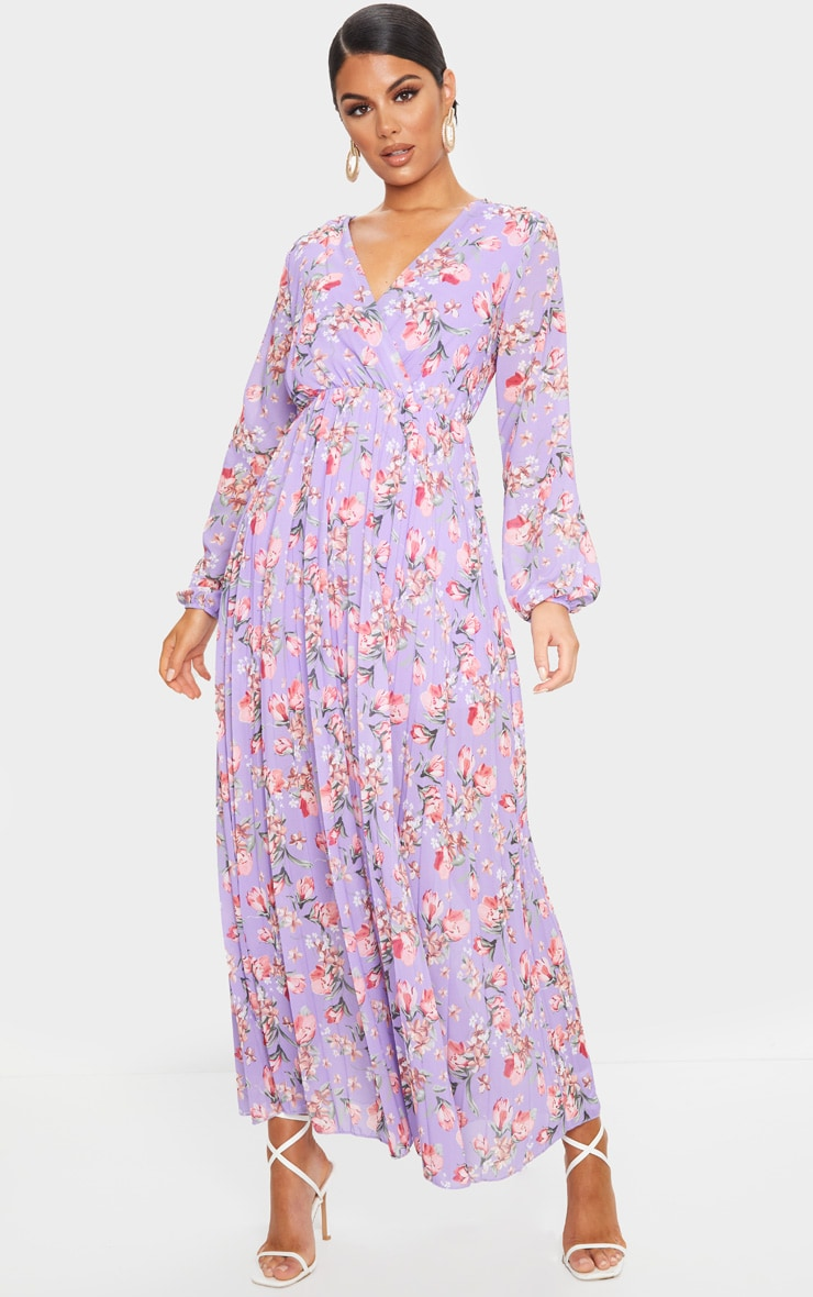 Lilac Floral Long Sleeve Pleated Maxi Dress