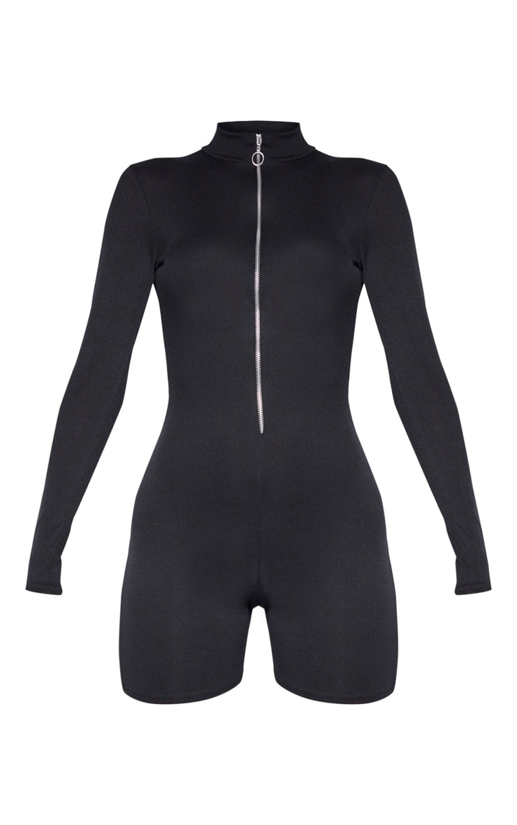 Black Zip Front Rib Unitard 3