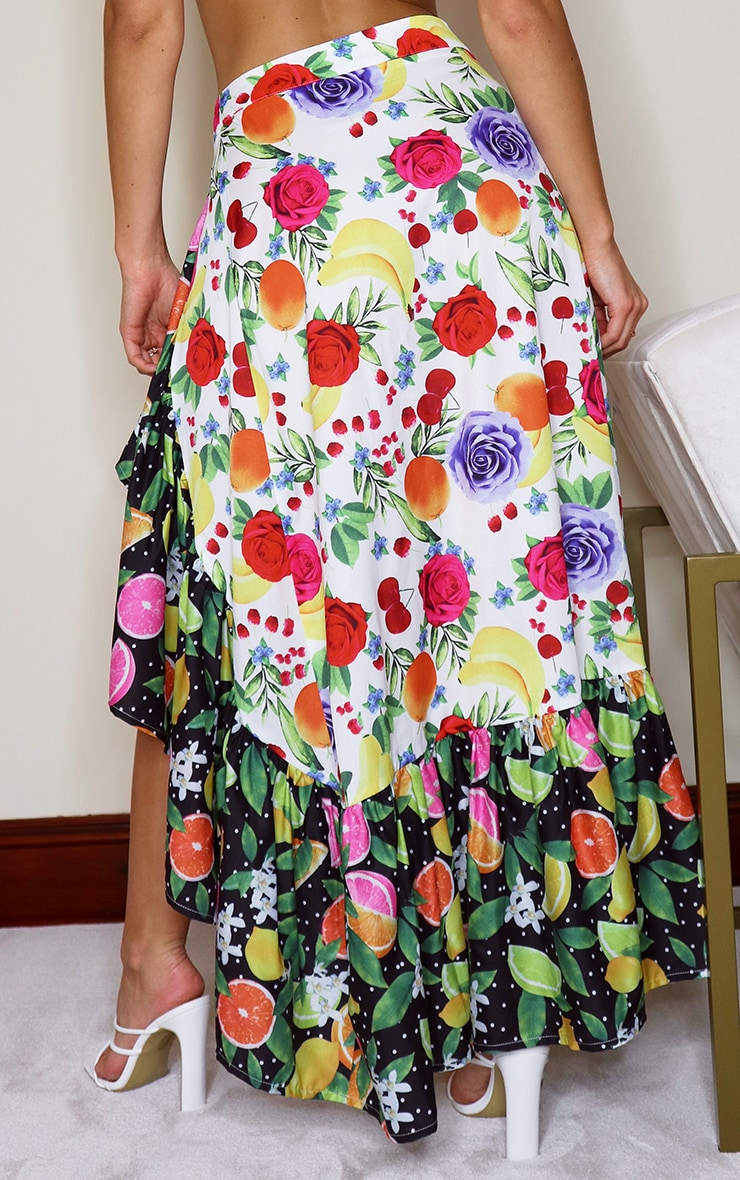 White Floral Polka Fruit Print Beach Skirt 3