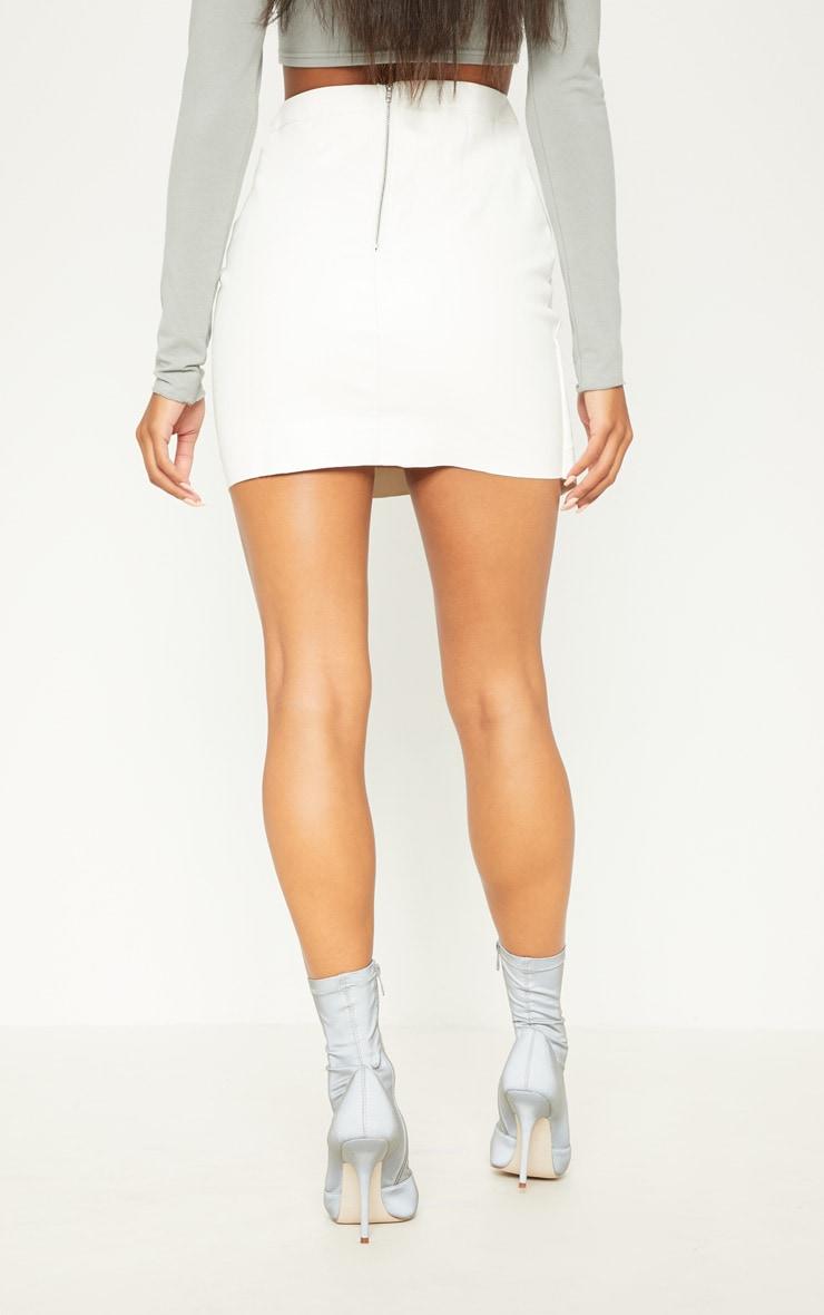 White Faux Leather Wrap Mini Skirt 4