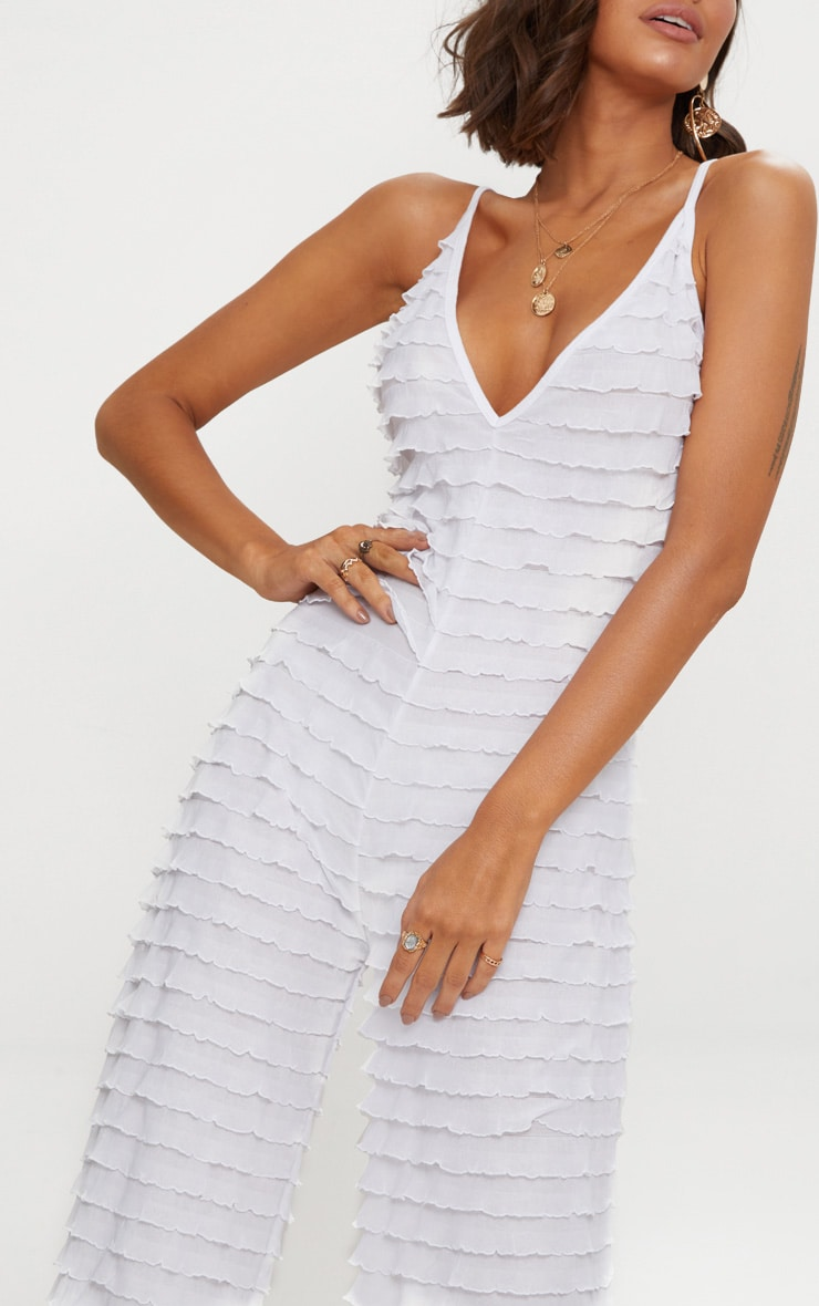 White Frill Strappy Plunge Jumpsuit 5