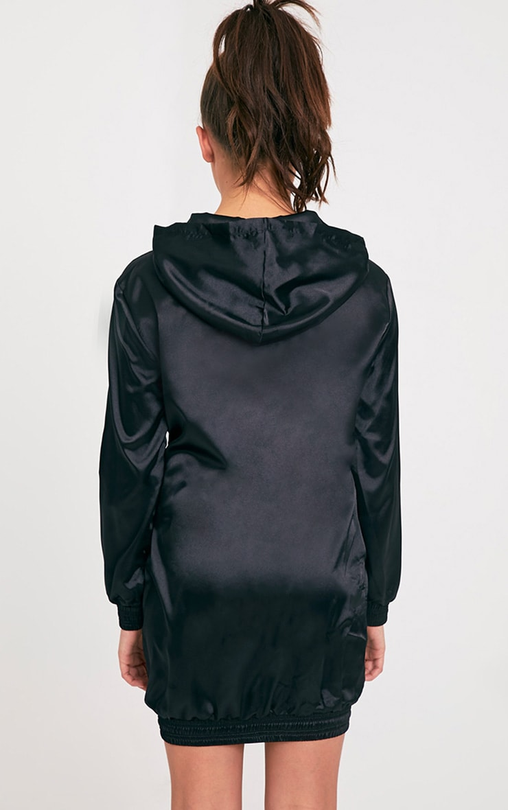 Maya Black Satin Oversized Hoodie Dress 2