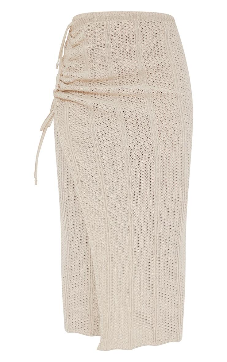 Cream Pointelle Tie Side Ruched Skirt 5