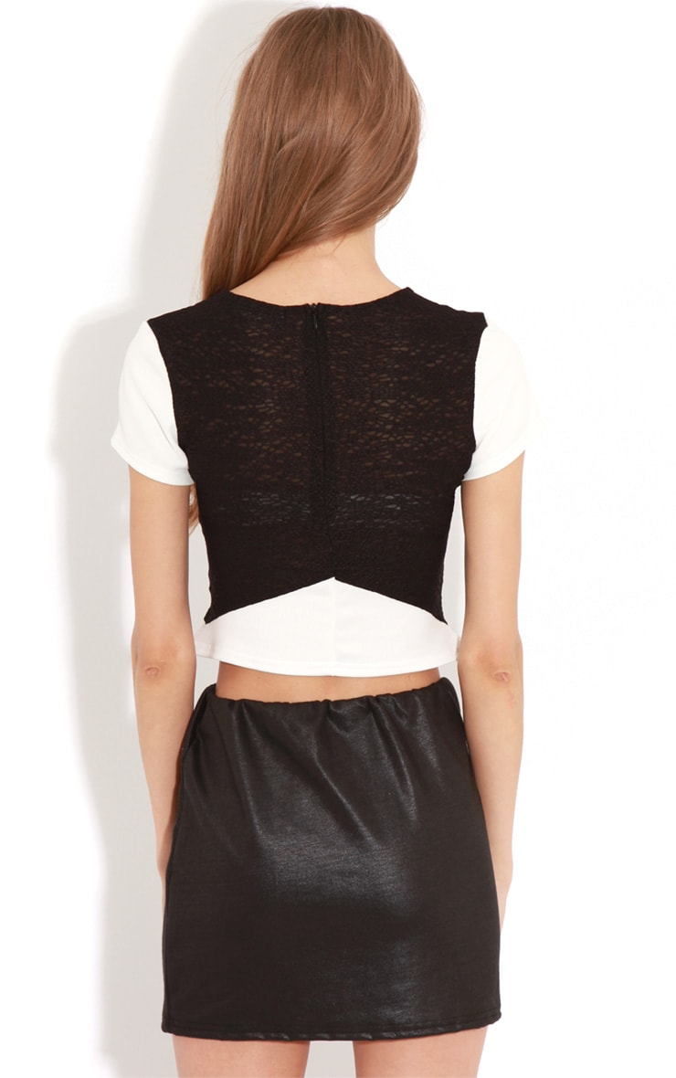 Nova Monochrome Mesh Panel Crop Top 2