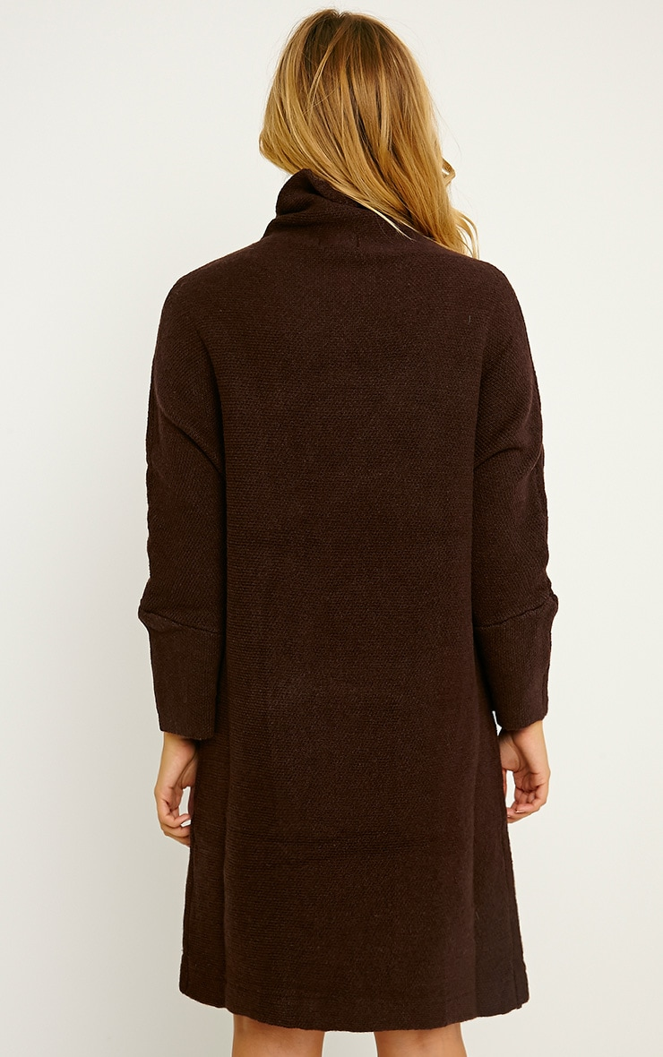 Nim Chocolate Brown Oversized Knitted Dress 2