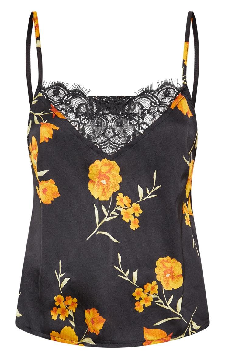 Black Floral Printed Chiffon Lace Trim Cami Top 3