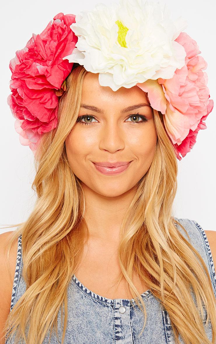 Sava Pink Large Floral Hair Garland 1