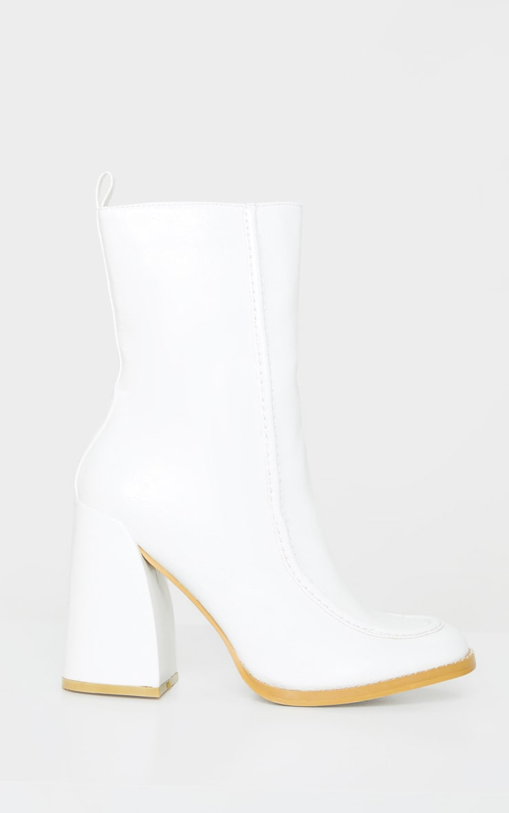 White Curved Toe Block Heel Ankle Boot 4