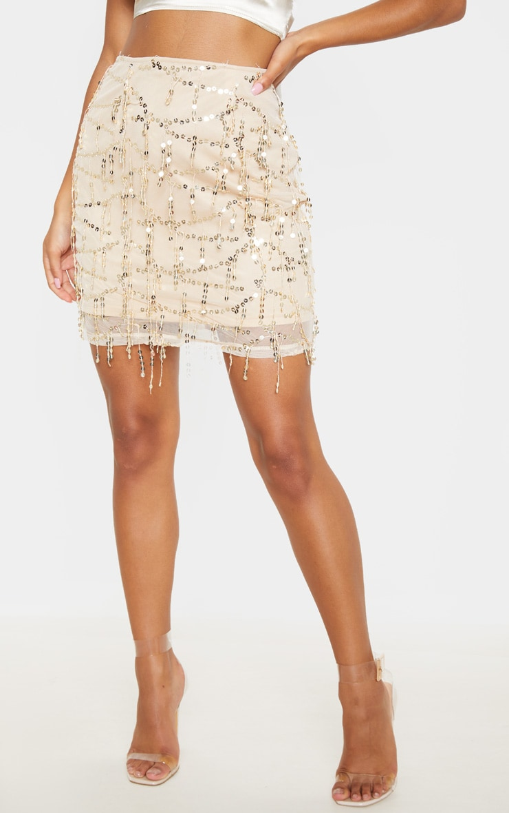 Gold Sequin Detail Mini Skirt  2