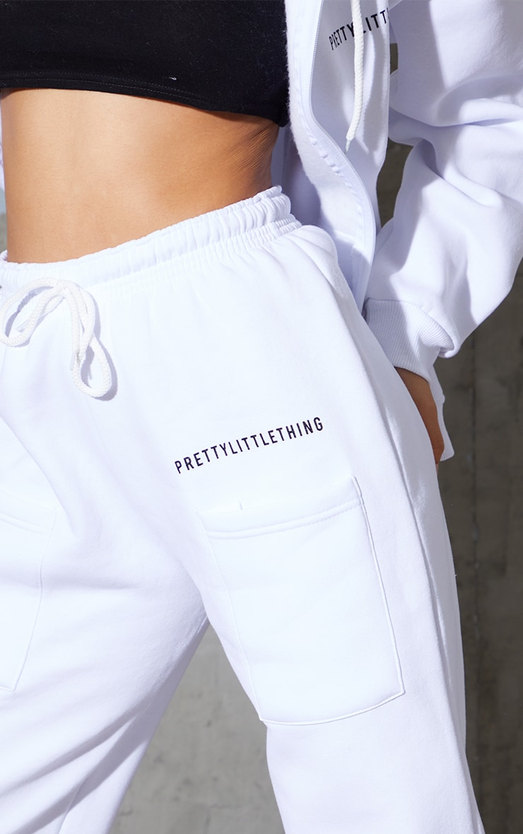 PRETTYLITTLETHING White Printed Pocket Thigh Casual Joggers 4