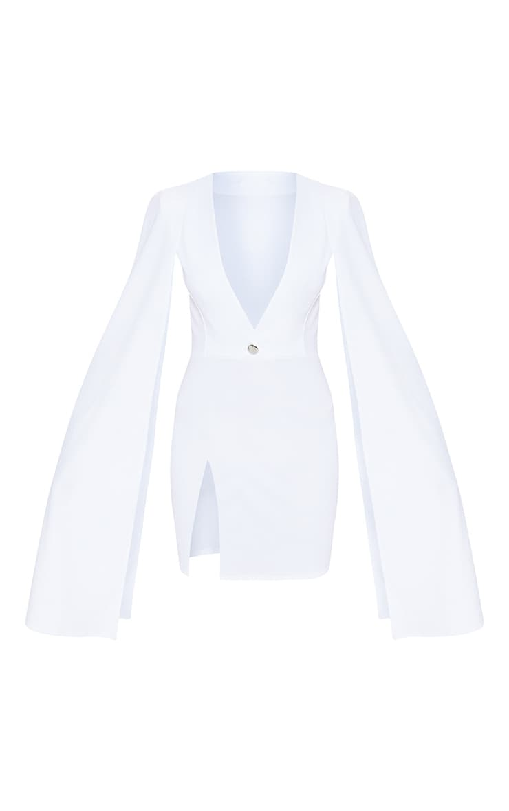 White Cape Blazer Dress 3
