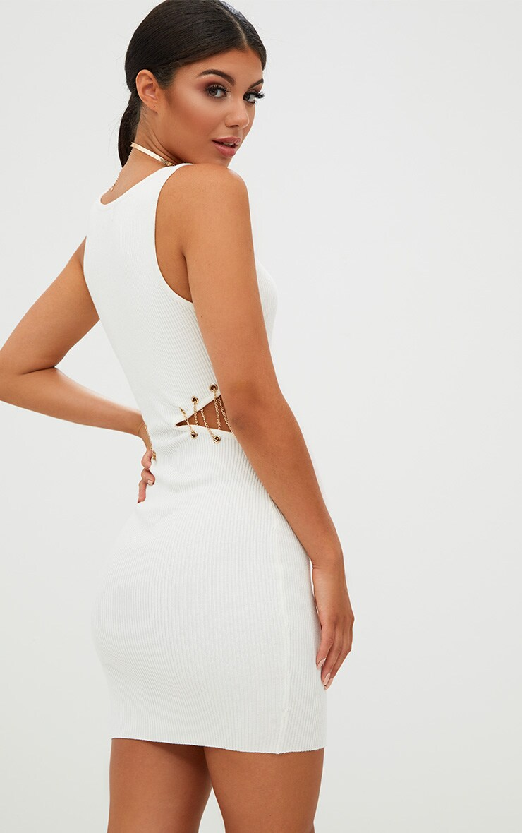 White Chain Detail Knitted Mini Dress 2