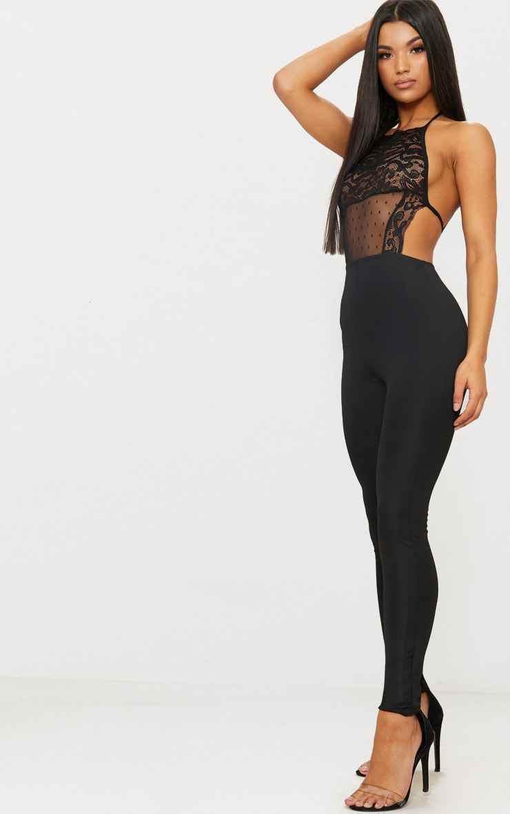 Black Lace Halterneck Jumpsuit 3