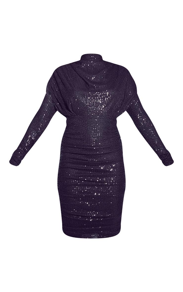 Black Sequin Shoulder Pad Ruched Front Midi Dress 5
