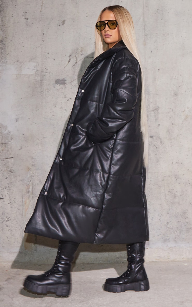 Black Faux Leather Padded Panel Maxi Puffer