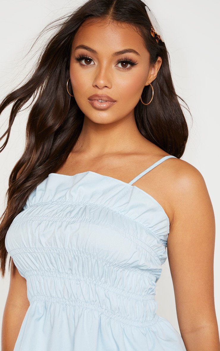 Petite Baby Blue  Ruffle Frill Detail Strappy Top 5