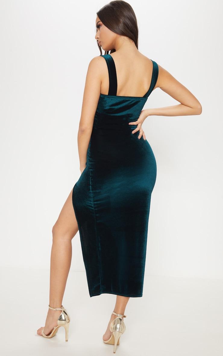 Emerald Green Velvet Square Neck Split Leg Midi Dress 2
