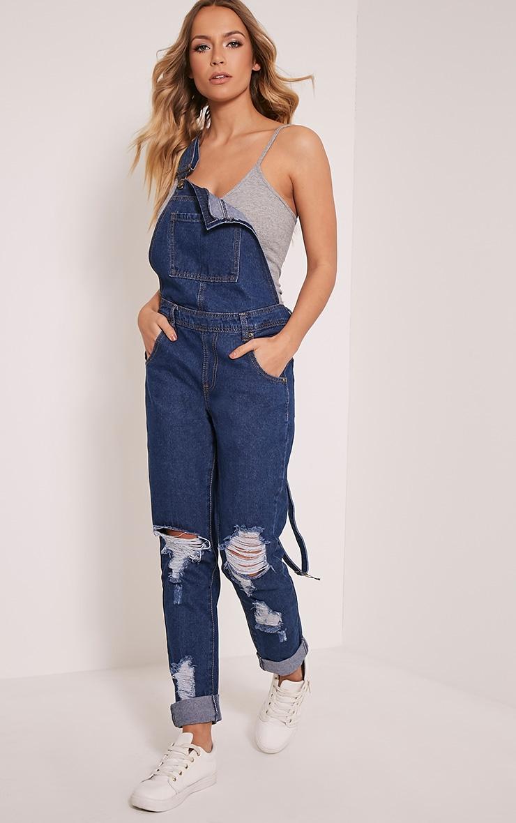 Ann salopette bleue en jean noire délavage foncé 5