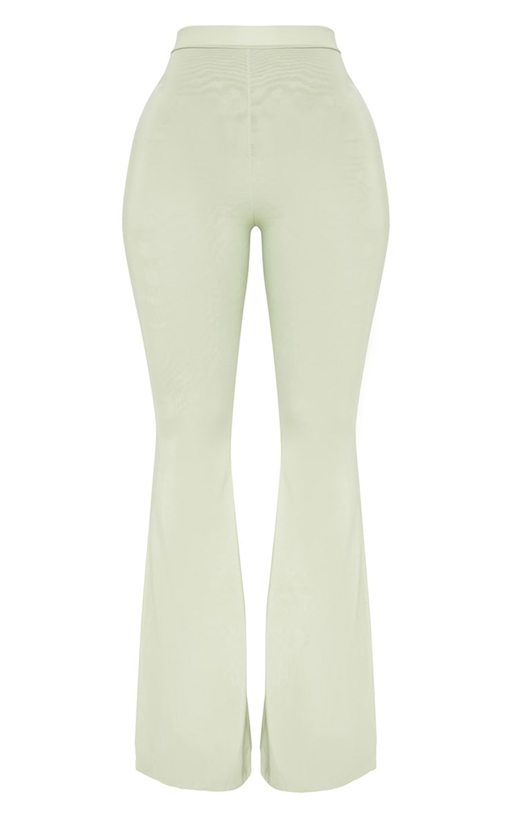 Shape Sage Green Slinky Flared Trousers 3