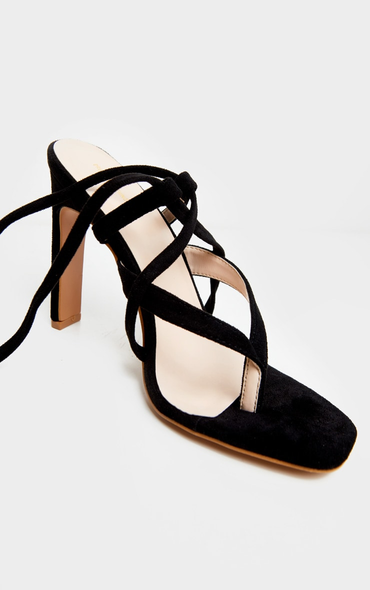 Black Flat Heel Strappy Ankle Tie Toe Thong Sandals