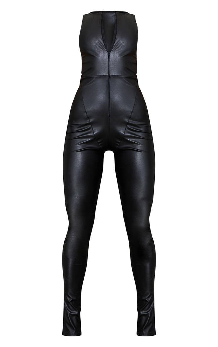 Black PU Racer Neck Split Hem Jumpsuit 5