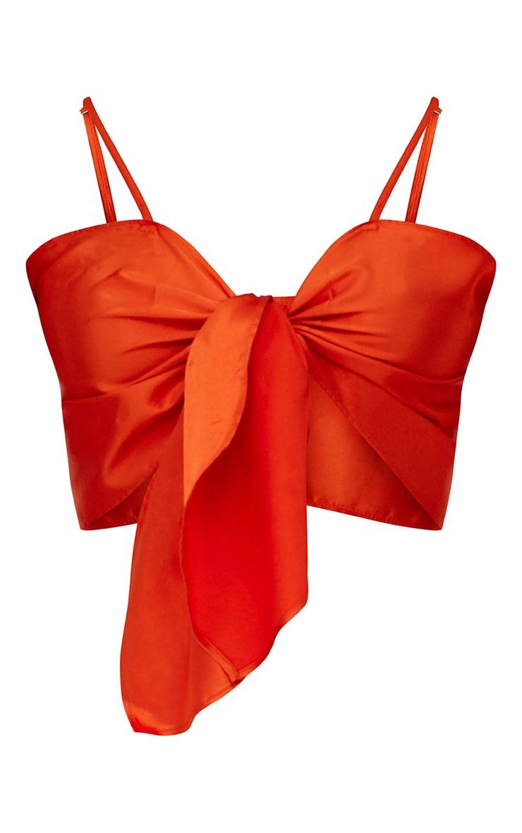Orange Tie Front Cami Crop Top 3