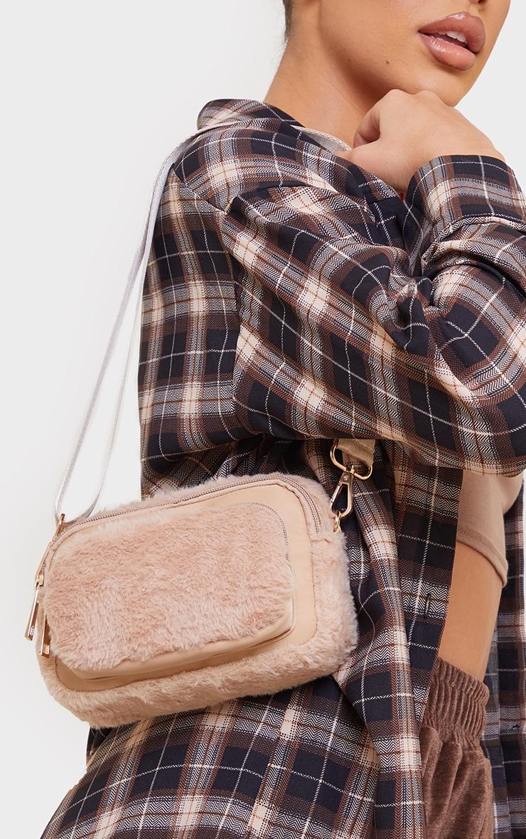 Nude Fur Trim Cross Body Bag 1