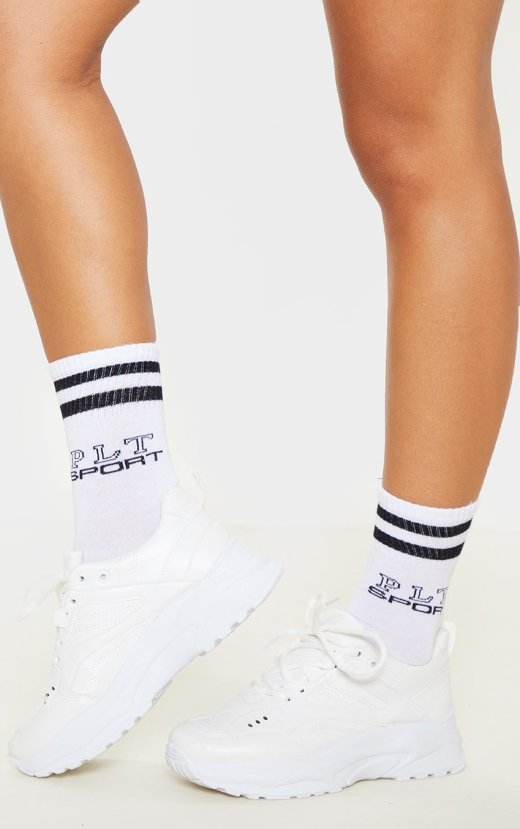 PRETTYLITTLETHING White Sport Logo Ankle Socks 1