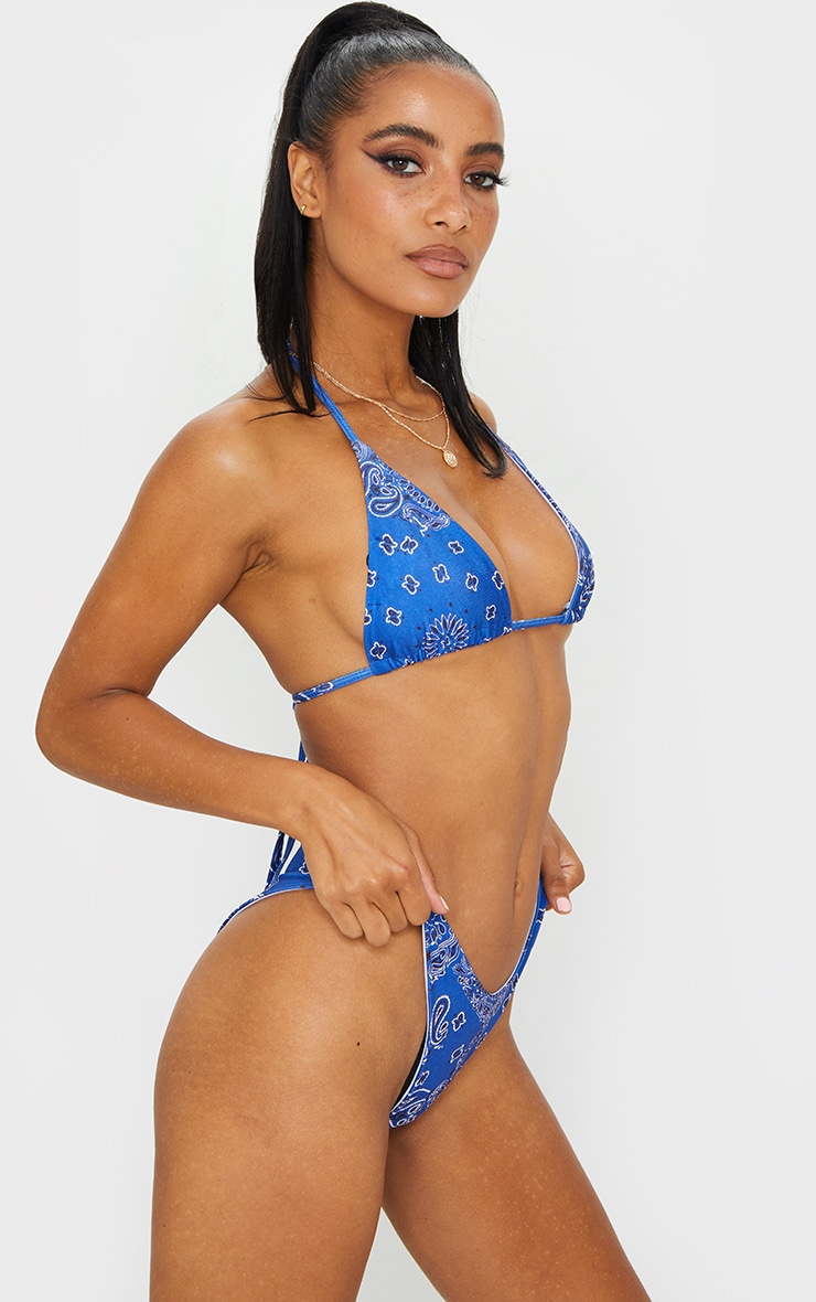 Blue Bandana Print High Leg Bikini Bottoms 2