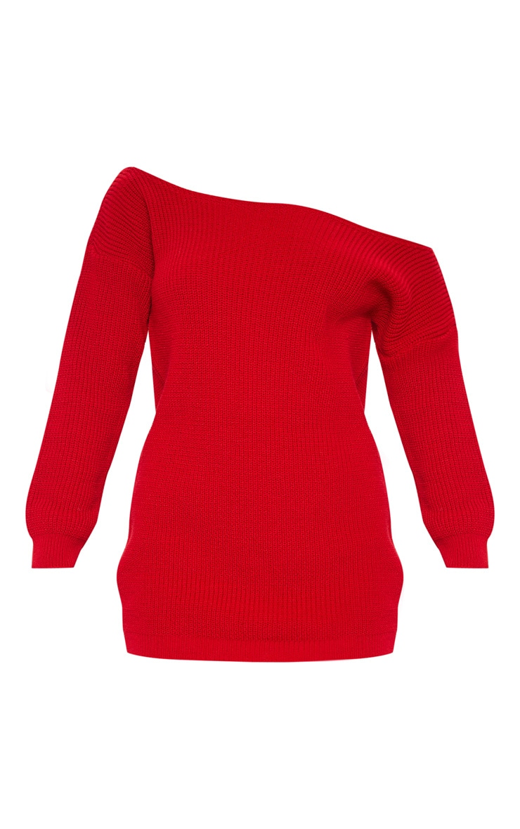 Red Off The Shoulder Knitted Dress 3