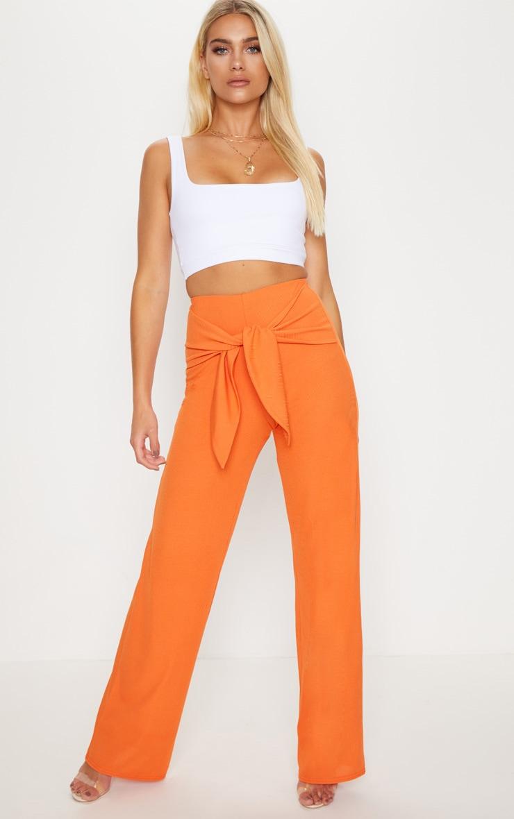 Orange Tie Waist Rib Wide Leg Trouser