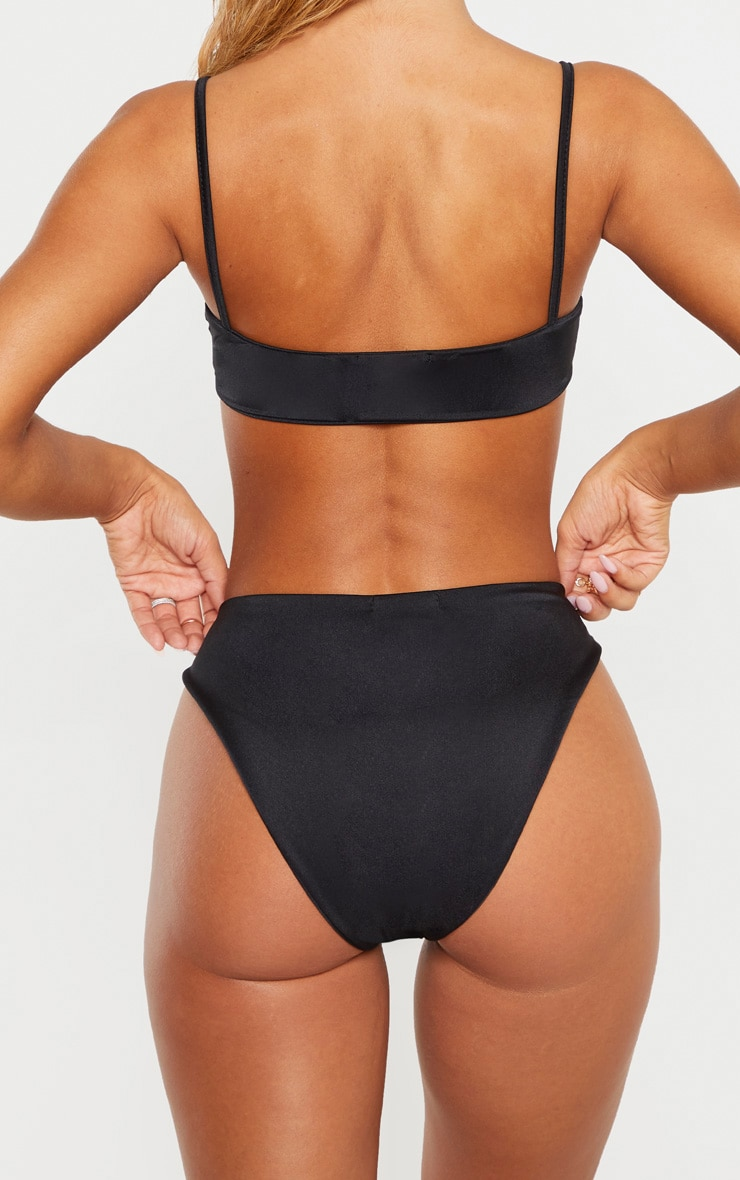 Black Strap Front High Leg Bikini Bottom 3