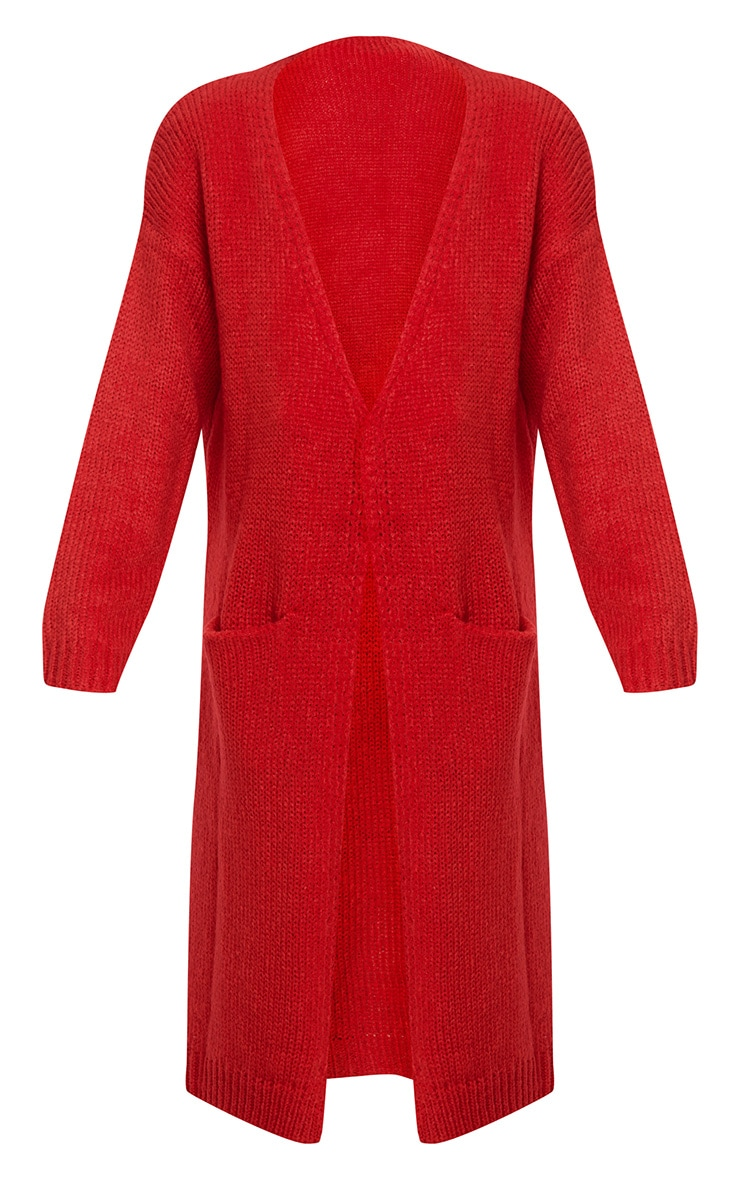 Red Super Chunky Long Line Cardigan 3