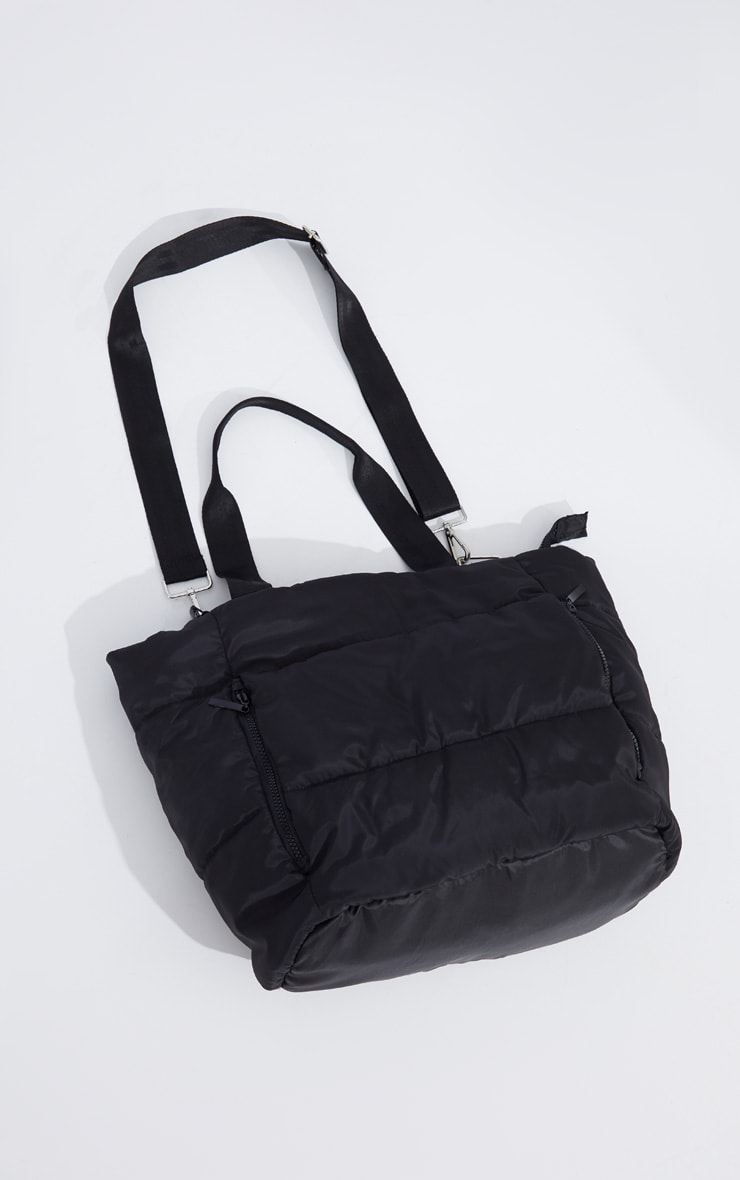 Black Oversized Quilted Tote Bag 3