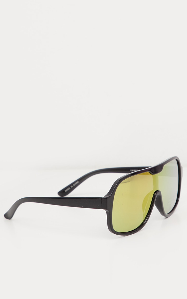 Black Frame Yellow Lens Retro Round Sunglasses 3