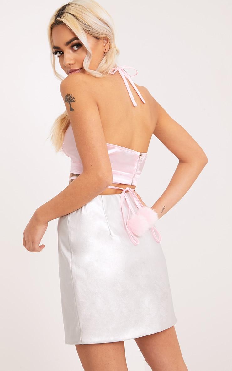 Asher Pastel Pink Satin Pom Pom Bralet 2
