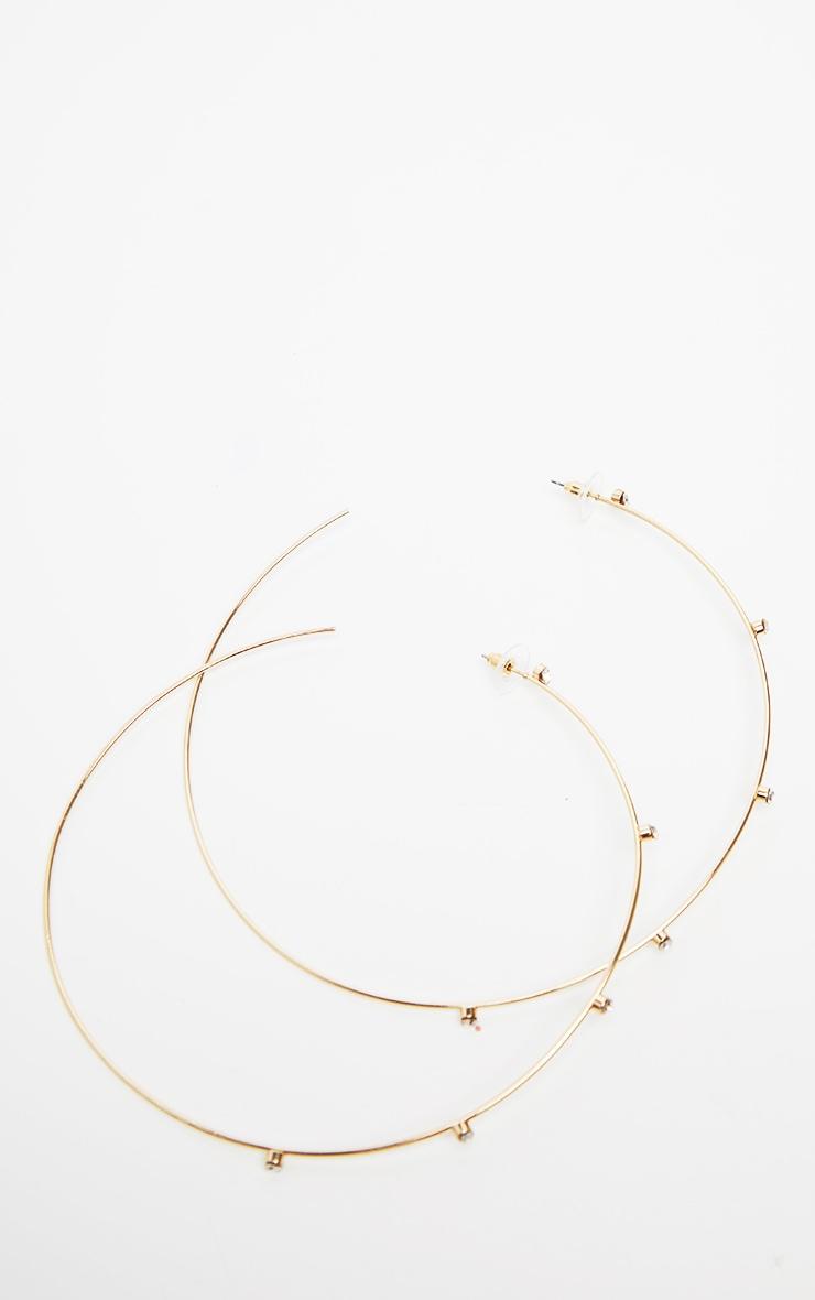 Gold Large Diamante Studded Hoop Earrings 3