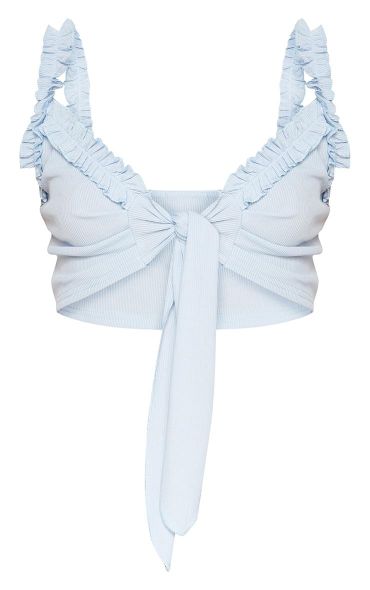 Baby Blue Rib Ruffle Detail Bralet 3