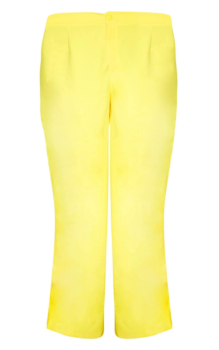 Plus Bright Yellow Button Detail Wide Leg Trouser  3