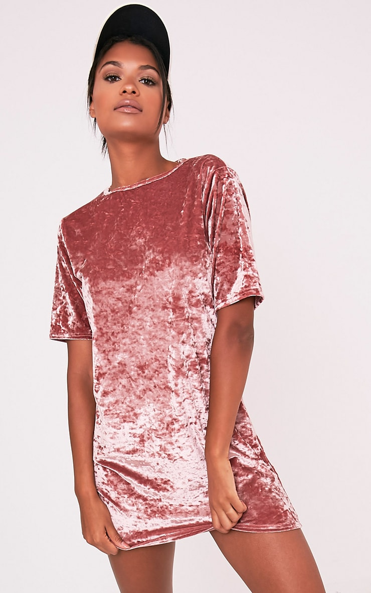 Maylia Dusty Pink  Crushed Velvet T Shirt Dress 1