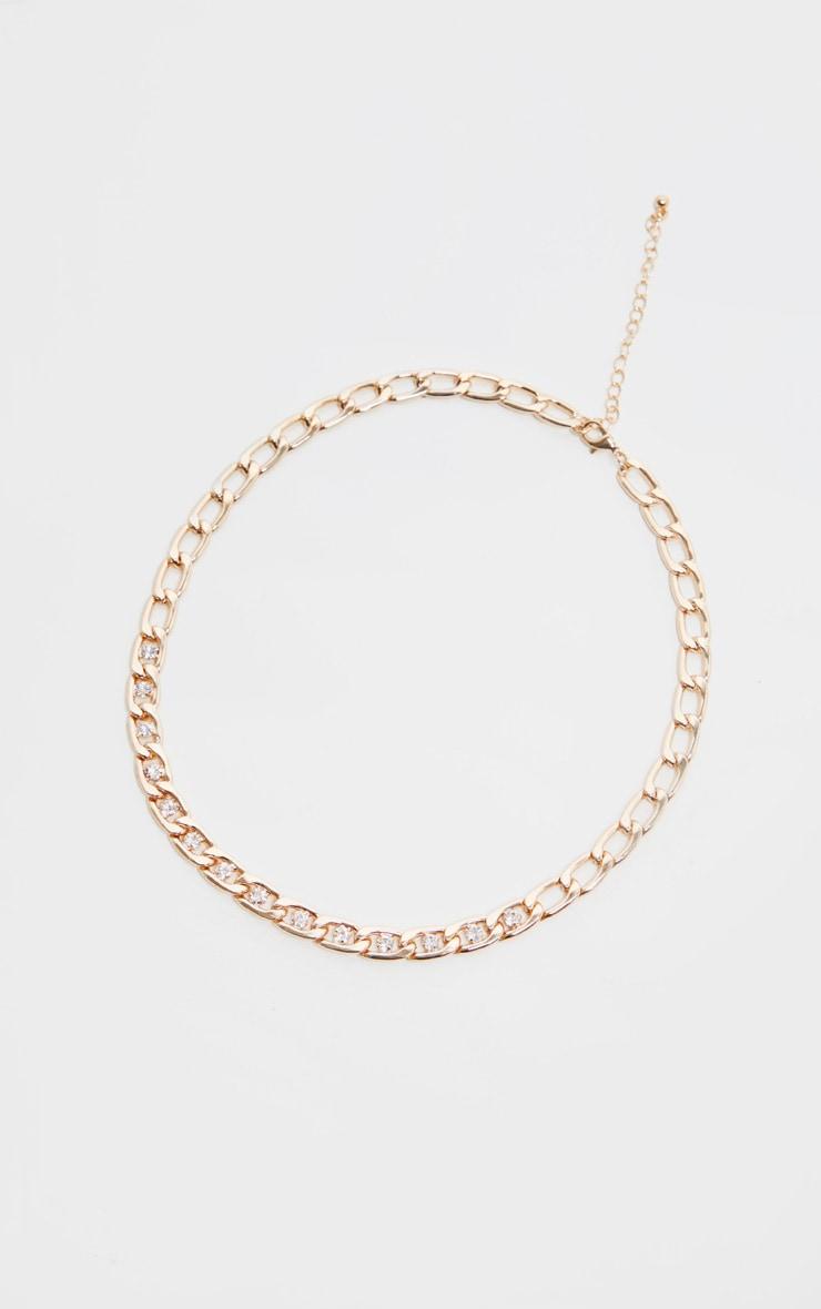 Gold Diamante Short Chain Necklace 3